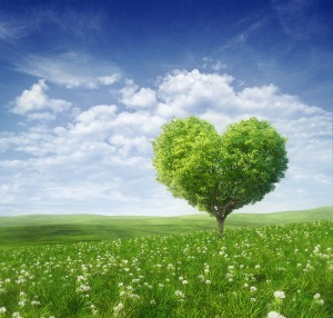 Tree in the shape of heart, valentines day background,